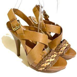 BCBG Paris Mochie Leather Brown Sandals Size 6B